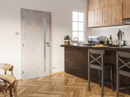 Dveře Gabreta č. 3 dokazují, že dekor připomínající beton v interiéru může vypadat lehce a moderně