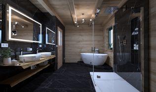 I koupelna ve staré šumavské roubence může být moderní