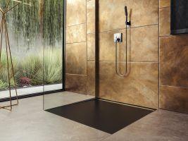 Kaldewei_extra plochá sprchová vanička Nexsys v lávově černé matné s designovou krytkou v lesklé zlaté