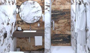 Stylové koupelny plné inspirace - Nástupce mramorových koupelen s výraznou kresbou