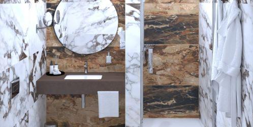 Nástupce mramorových koupelen s výraznou kresbou