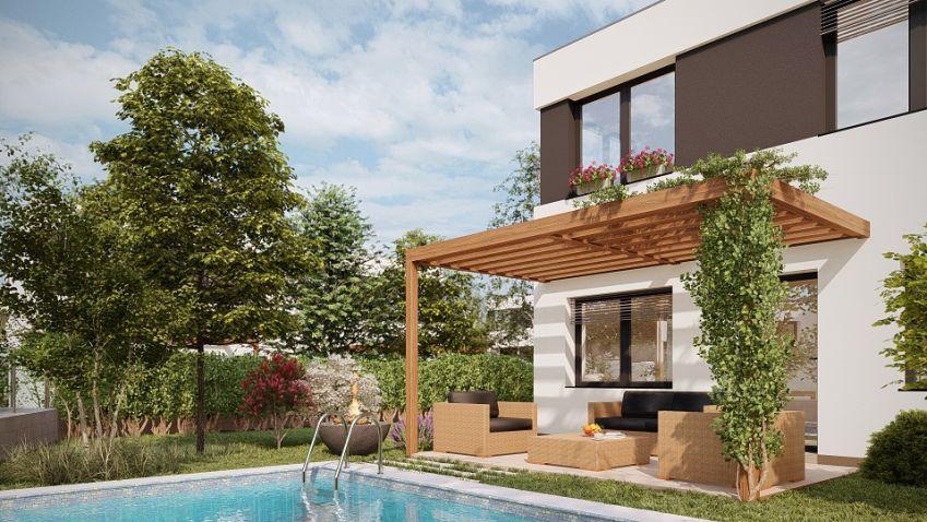 Nové bydlení: VKlecanech roste 12 exkluzivních rodinných dvojdomů