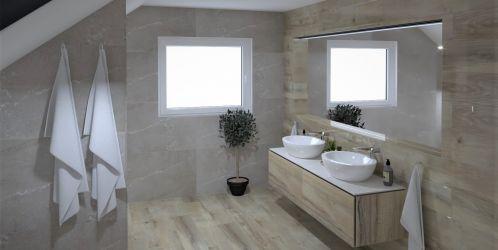 Stylové koupelny plné inspirace - Koupelny se vzorem jemné kameniny a s dekorem dřeva