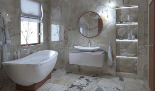 Stylové koupelny plné inspirace - Koupelny s dokonalou napodobeninou přírodního kamene s tmavšími skvrnami