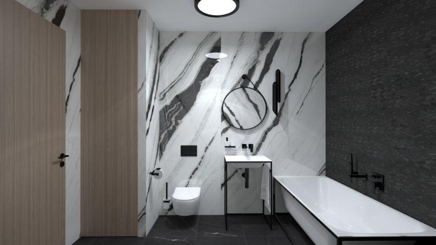 Velkoformátové obklady sluší i malým koupelnám
